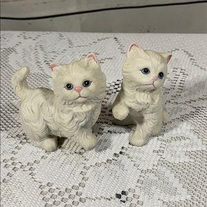 Homco Vintage White Kitten Figurines Set of 2